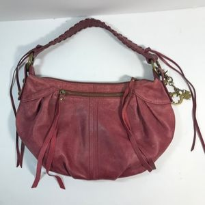 Lucky Brand Distressed Red Leather Purse Hobo